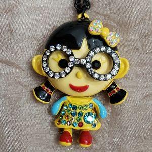 Betsey Johnson China Girl w/ Glasses Necklace